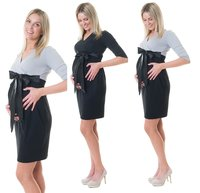 3in1 Stillkleid Umstandskleid Satinschleife D60