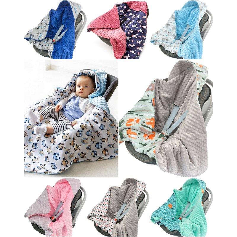 Divita Babydecke Minky 90x90 cm Decke Baby Einschlagdecke mit Kapuze f/ür Kinderwagen Buggy Babyschale